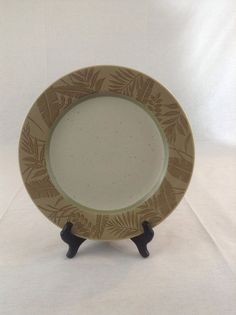 "Epoch Panama Dinner Plate 11"" Tan Brown Leaves Ferns Replacement Dish E 929 #Epoch"