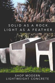 Shop BOXHILL & CO.'s collection of lightweight concrete for modern outdoor spaces. Concrete Furniture, Concrete Projects, Brighton, Interior Design Trends, Interior Decorating, Modern Outdoor Living, Quick Garden, Papercrete, Stamped Concrete