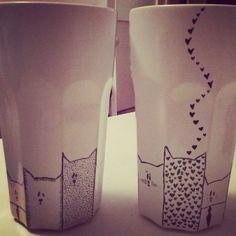 DIY cat mugs