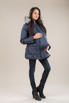 Insulated with pure Canadian down, the M Coat takes you through maternity, babywearing, and back to a regular fit. 3 In 1 Jacket, Canadian Winter, Baby Warmer, Fur Trim, Baby Wearing, Innovation Design, Winter Jackets, Pure Products, Model