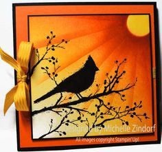 Cardinal Silhouette Stampin' Up! card created by Michelle Zindorf using the Beauty of the Season Stamp set.