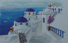 Santorini Greece Blue Churches Painting