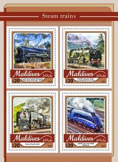 Steam trains (South Australian Railways 520 class No. Pacific Vapeur Club Locomotive 231 G Union Pacific LNER Class 4468 Mallard) Locomotive, Maldives, Union Pacific 844, Trains, Club, Mallard, Baseball Cards, A4, Stamps