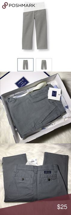 Janie and Jack Casual Grey Pants 18-24 Months Preppy essential in soft cotton twill with front pockets, belt loops and buttoned back pockets. Adjustable waist. Size 18-24 Months 100% Cotton Twill Grey  Zip Fly With Button Closure Adjustable Waist Machine Washable Janie and Jack Bottoms Casual