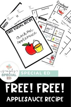 This FREE applesauce recipe is great for a special education or early childhood classroom or homeschool. Click through to sign up for the download freebie. It's great at elementary, middle, or high school - depending on the life skills needs of kids. Use it in fall or any time of year where you want to focus on cooking skills. #SpecialEducation #LifeSkills #EarlyChildhood #ApplesauceRecipe #MakingApplesauce Special Education Inclusion, Teaching Special Education, Life Skills Classroom, Classroom Ideas, Cooking In The Classroom, Life Skills Lessons, Teacher Resources, Teacher Tips, Apple Unit