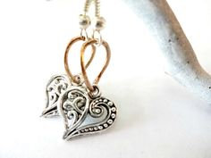 Dainty Silver Heart and Copper Dangle Earrings Gift by YoursTrulli, $14.00