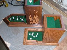 Some of my older projects. I designed and built the first for a coworker who was a fan of board games. After I put his together I found it too much fun to play with and had to build one for myself. Each tower has an identical set of four baffles. Small Wood Projects, Cnc Projects, Woodworking Projects, Dice Roller, Game Bit, Board Game Storage, Dungeons And Dragons Dice, Wood Games, Tabletop Games