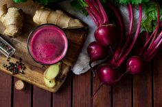 Fresh spicy beetroot juice with Ginger on wooden table, flat lay , Beetroot, Eggplant, Spicy, Smoothie, Fresh, Vegetables, Flat Lay, Food, Images