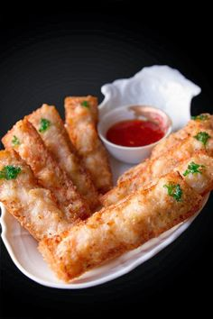 SHRIMP TOAST - 10 - 12 slices bread (day old or crusty bread is best) 3/4 pound medium shrimp 4 water ches...