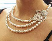 Vintage Bridal Wedding Jewelry, Pearl & Rhinestone Bridal Necklace, Ivory White Pearls, Statement Wedding Necklace, ALYSSA #EasyNip