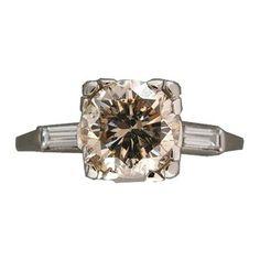 Stunning 2.13 carat light brown diamond and platinum engagement ring! Vintage!