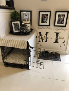 Puppy Room Konzept-Ideen, Atemberaubende Puppy Room Konzept-Ideen, Atemberaubende Puppy Room Konzept-Ideen, This DIY Dog Crate Furniture Piece Will Transform Your Living Room Crate & Table Wood Chevron Art Kennel Cover modify your Dog Bedroom, Puppy Room, Puppy Beds, Puppy Playpen, Pet Beds, Dog Spaces, Small Spaces, Dog Corner, Animal Room