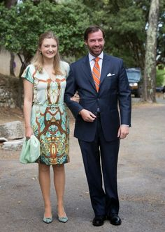 MYROYALSHOLLYWOOD FASHİON:  Christening of Princess Amalia, Chapelle de Saint-Ferréol, France, July 12, 2014-HGD Stéphanie and HGD Guillaume