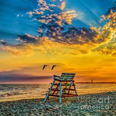 Sunset over the ocean in Cape May New Jersey