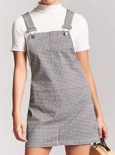 Gingham Mini Overall Dress Boho Fashion, Winter Fashion, Vintage Fashion, Womens Fashion, Dress Outfits, Cute Outfits, Dresses, Overall Dress, Elegant Outfit