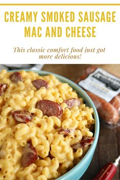Creamy Smoked Sausage Mac and Cheese By combining the bold flavor of Kiolbassa Polish Smoked Sausage with rich, creamy cheese you get the perfect recipe for those busy weeknights or when you have a crowd to please! Recipe courtesy of Southern Bite. Clean Eating Recipes, Clean Eating Snacks, Lunch Recipes, Gourmet Recipes, Breakfast Recipes, Vegetarian Recipes, Dinner Recipes, Cooking Recipes, Healthy Recipes