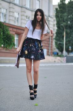 t-shirt + sparkly skirt