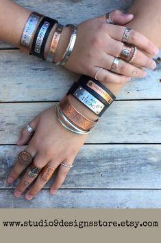 Personalized bracelet Custom bracelet Name Bracelet Leather bracelet Customized bracelet Personalized gift Custom jewelry Birthday gift Boho Jewelry, Jewelry Accessories, Jewelry Design, Unique Jewelry, Personalized Bracelets, Rock Chic, Leather Cuffs, Mantra, Imagination