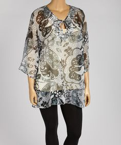 Look what I found on #zulily! Black & White Paisley Embellished Tie-Neck Tunic - Plus #zulilyfinds