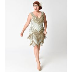 Unique Vintage Plus Size 1920s Seafoam & Antique Gold Beaded Bayou... ($298) ❤ liked on Polyvore featuring plus size women's fashion, plus size clothing, plus size dresses, plus size cocktail dresses, plus size white dress, vintage white dress, white beaded cocktail dress and white cocktail dress