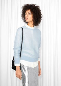 & Other Stories Pointelle Wool Sweater  in Light Blue