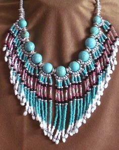 Native American style fringed collar necklace in turquoise, pink and silver with turquoise amazonite stones <3
