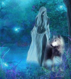 Blue woman and wolf Anime Wolf, Fantasy Wolf, Dark Fantasy, Fantasy Kunst, Fantasy Art, Marshmello Wallpapers, Wolves And Women, Wolf Spirit Animal, Animal Spirit Guides