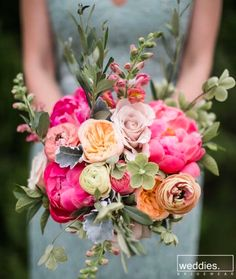 Spring is in Bloom with this gorgeous spring bridesmaid bouquet Bridal Flowers, Flower Bouquet Wedding, Floral Wedding, Rustic Wedding, Orange Wedding, Flower Bouquets, Trendy Wedding, Wedding Table, Wedding Ceremony