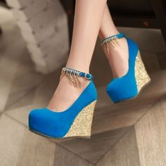 blue high heels wedge with gold jewelry