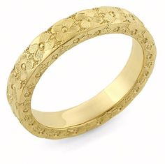 ApplesofGold.com - Hand Carved Floral Wedding Band Ring, 14K Gold Jewelry $575.00