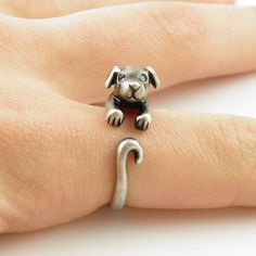 Calling all dog lovers! This silver puppy animal wrap ring is slightly adjustable with a gentle squeeze. It fits a size He is sweet with rhinestone eyes and floppy ears as this little guy wraps. Dog Jewelry, Animal Jewelry, Cute Jewelry, Jewelry Rings, Unique Jewelry, Jewelery, Jewelry Accessories, Jewelry Design, Animal Rings