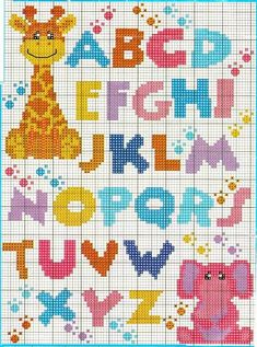 Alphabet with Giraffe & Elephant Cross Stitch Letters, Cross Stitch For Kids, Cross Stitch Baby, Cross Stitch Charts, Cross Stitch Designs, Stitch Patterns, Crochet Patterns, Embroidery Patterns, Cross Stitching