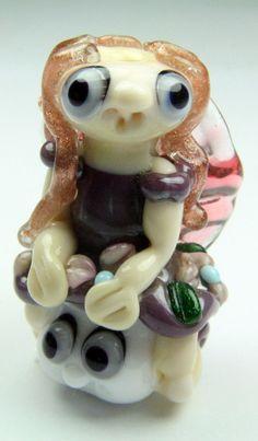 Glass fairy bead  focal bead  fairy and mushroom bead by IzzyBeads, £20.00