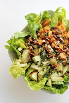 Red Leicester, Apple and Lettuce salad