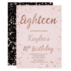 Faux Rose Gold Confetti Blush 18th Birthday Invitation