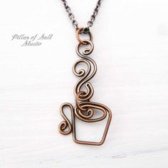 Coffee Mug Necklace - Steaming Cup wire wrapped copper necklace Mother's Day gift idea Copper Necklace, Copper Jewelry, Glass Jewelry, Beaded Jewelry, Handmade Jewelry, Copper Wire, Aluminum Wire Jewelry, Personalized Jewelry, Vintage Jewelry