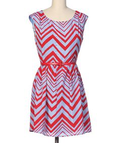 Red Zigzag Belted Cap-Sleeve Dress | something special every day
