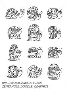 Find snail stock images in HD and millions of other royalty-free stock photos, illustrations and vectors in the Shutterstock collection. Thousands of new, high-quality pictures added every day. Zentangle Drawings, Zentangle Patterns, Doodle Drawings, Easy Drawings, Easy Zentangle, Zen Doodle, Doodle Art, Snail Image, Animal Doodles