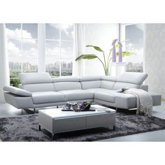 J&M Furniture 1717 Italian Leather Right Sectional in White