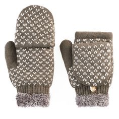 SONOMA Goods for Life™ Women's Bird's-Eye Convertible Flip-Top Mittens, Grey (Charcoal)