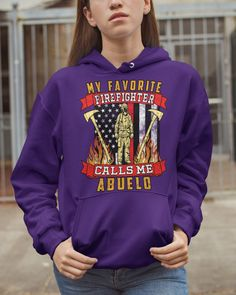 My Favorite Firefighter Calls Me Abuelo Mugs - Purple firefighter humor, firefighter family, firefighter kid #militarygift #fireservice #firedepartment, dried orange slices, yule decorations, scandinavian christmas Firefighter Games, Firefighter Family, Wildland Firefighter, Firefighter Quotes, Dried Orange Slices, Dried Oranges, Military Gifts, Yule Decorations