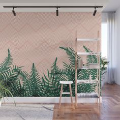 Tropical Ferns on Pink Wall Mural by designdn Living Room Murals, Bedroom Murals, Bedroom Decor, Wall Decor, Room Wall Painting, Mural Wall Art, Jungle Pattern, Style Deco, Pink Walls