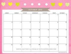 Free Printable October 2015 Calendars