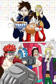 Eating they're least favorite foods - Trafalgar D. Water Law, Monkey D. Luffy, Eustass Kid, Killer, Scratchmen Apoo, and Basil Hawkins One piece