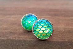 Stud Earrings – Mermaid Scale Earring Ocean Jewelry Blue green – a unique product by MadamebutterflyMeagan on DaWanda