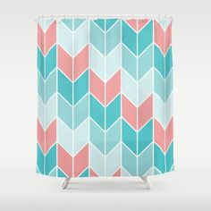 Mint Coral Chevrons Pattern Shower Curtain