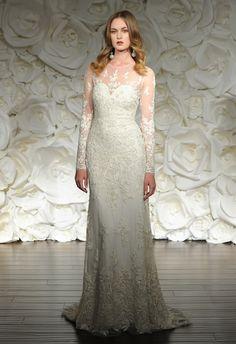 Long Sleeve Lace Sheath Wedding Dress   Naeem Khan Fall/Winter 2015 Wedding Dresses   Maria Valentino/MCV Photo   blog.theknot.com