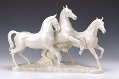 Big horses group Hutschenreuther Art Department, 2nd half of the 20th century, Three galloping horses, porcelain, white, ca. 41 x 63 x 24 cm