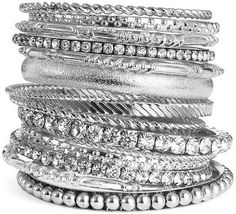 LOVE...#KENNETH #LANE Stackable Silver Bangles