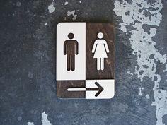 "Unisex Restroom Sign with Arrow - Unique Bathroom Decor - Direction Sign - 6"" x 8"" Rectangular Symbol Signage"
